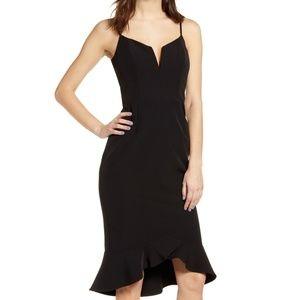 NWOT Bardot Kristen Flutter Hem Slit Neck Dress